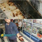 جوشش نفت در یکی از مغازههای شهر مسجد سلیمان پس از زلزله